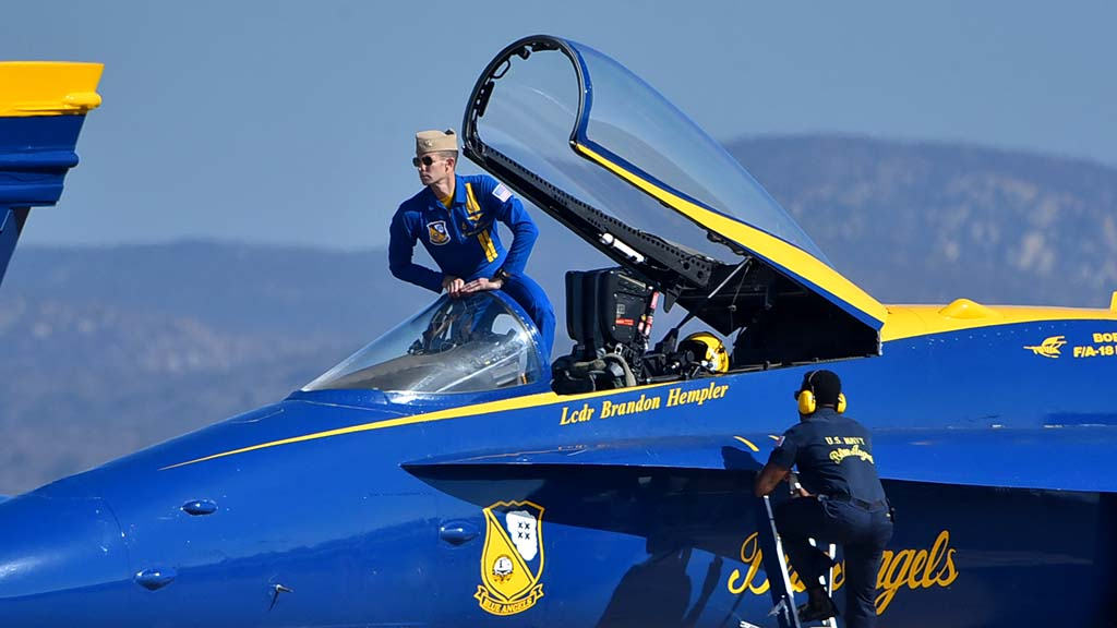 Lt. Cmdr. Brandon Hempler takes his seat in his Blue Angel before the performance.