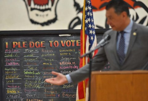 """""""I pledge to vote"""" board was backdrop to Secretary of State Alex Padilla, who oversees statewide elections."""