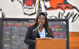 Morse High School Principal Cynthia Larkin celebrates her students and visit by Rep. John Lewis.