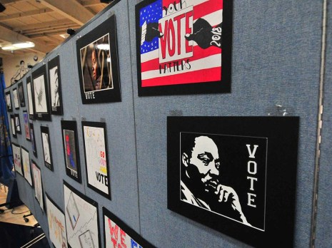 Voting related art work was displayed for the John Lewis event.