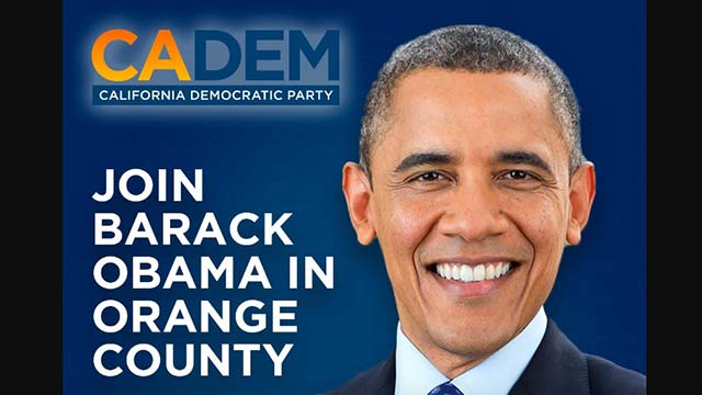 The California Democratic Party is inviting people to seek tickets to Barack Obama rally.