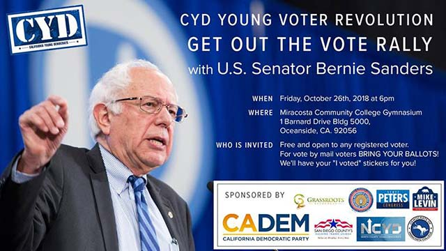 Promotional graphic for Sen. Bernie Sanders rally at MiraCosta College.