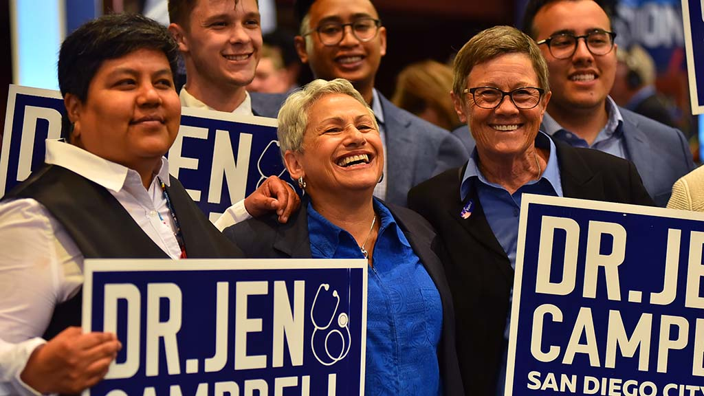 Dr. Jen Campbell celebrates with her supporters at Golden Hall.