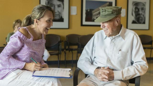 Karen Becerra with a patient