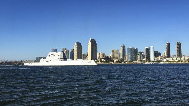 USS Zumwalt passes downtown San Diego