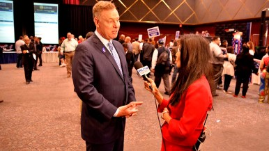 Rep. Scott Peters is interviewed by KUSI reporter Sasha Foo at Golden Hall.