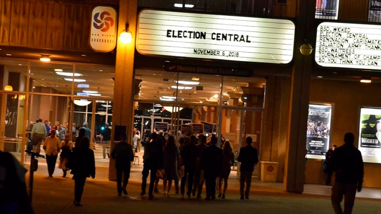 Candidate teams enter Election Central — Golden Hall in the civic center area downtown.