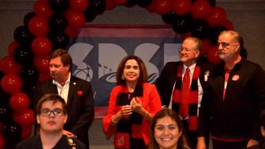 New SDSU President Adela de la Torre savors the moment at rally celebrating victory of Measure G.