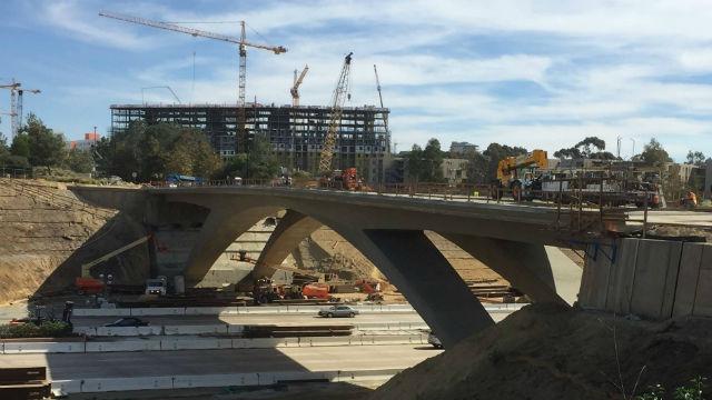 Bridge construction over Interstate 5