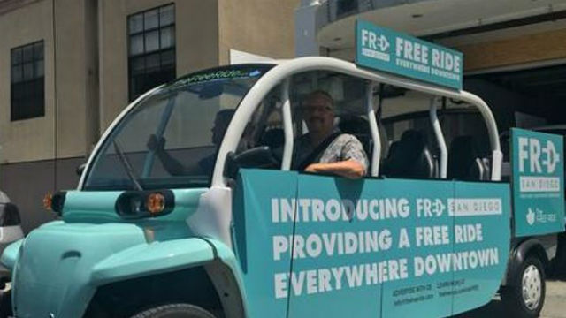 FRED, the modified electric golf, that provides free rides