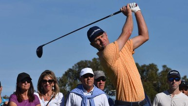 Justin Rose tees off of the 2nd hole of the Farmers Insurance Open at Torrey Pines Golf Course.