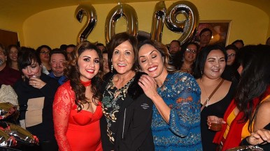 Front and center at party are (from left) Mickey Kasparian accusers Sandy Naranjo, Isabel Vasquez and Anabel Arauz.