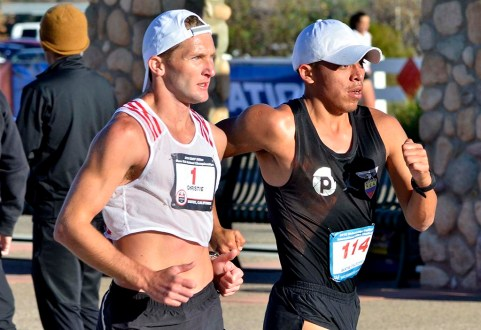 Nick Christie (left) and David Velasquez pushed each other for much of the race before Christies dropped out.
