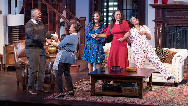 """The cast of """"Familiar"""" at The Old Globe"""