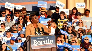 Former Ohio state Sen. Nina Turner gave a speech and introduced Sen. Bernie Sanders in downtown San Diego.