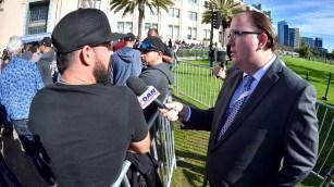 One America News Network's Eddie McCoven interviews Bernie Sanders fans before rally.