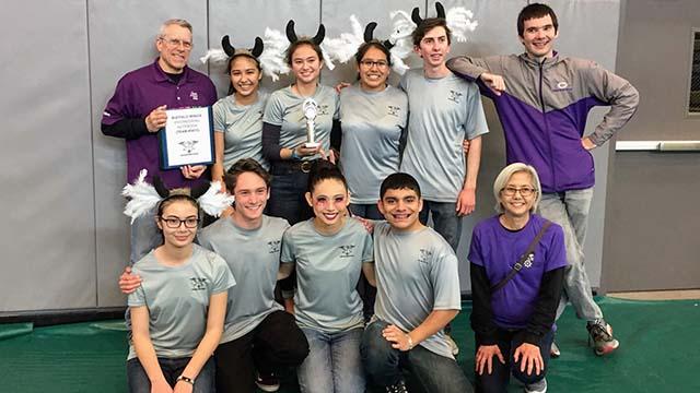Members of Carlsbad High School Buffalo Wings robotics team.