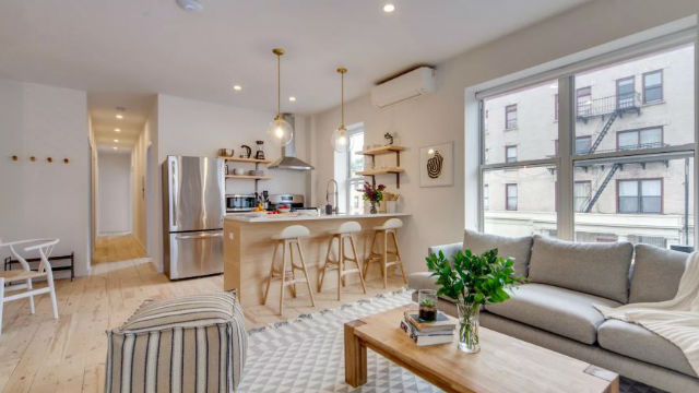 Shared kitchen and living area of a coliving apartment