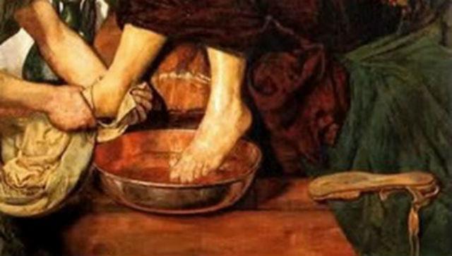 Jesus washing his apostles' feet