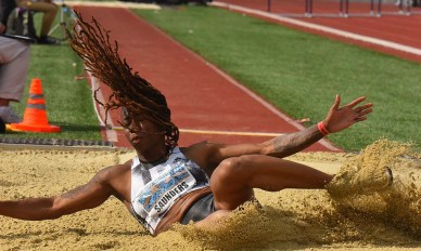 Adidas' ShaKeela Saunders finished second in the women's long jump at Mt. Sac Relays.