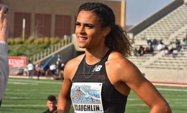 World-class hurdler Sydney McLaughlin is interviewed after her team won a 4 X 400 relay.