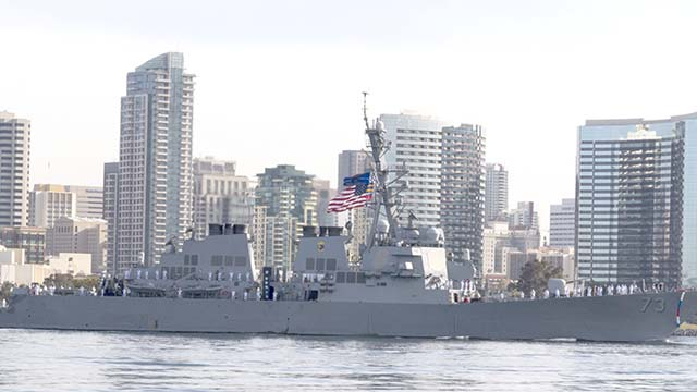 The crew of USS Decatur (DDG 73) man the rails as they sail past downtown San Diego en route to Naval Base San Diego on April 1. U.S. Navy photo by Mass Communication Specialist 1st Class Woody S. Paschall