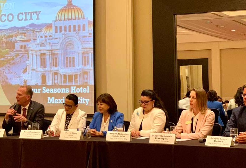 Meeting at one session were (from left) San Diego Mayor Kevin Faulconer, Mexico City mayoral chief of staff Rosa Rodríguez, Chula Vista Mayor Mary Salas, National City Mayor Alejandra Sotelo Solis, Encinitas Mayor Catherine Blakespear and Imperial Beach Mayor Serge Dedina.