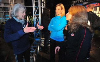 """Jessie Graff mother, Ginny MacColl, shared her advice on the second obstacle, """"Walk the Plank,"""" that she had tested the day before."""