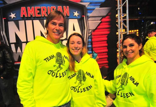 """Wearing """"Team Ninja Colleen"""" sweatshirts were (from left) her husband, Johnathan, laws school student daughter Julia and sister Kelly."""