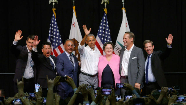 Orange County Democrats with former President Obama