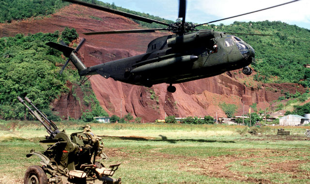 Marine helicopter lands during invasion of Grenada