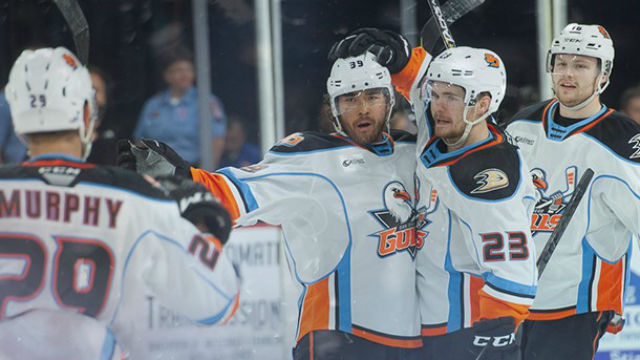 Gulls players celebrate second victory against Bakersfield