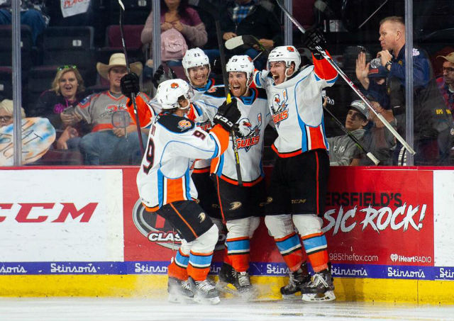 San Diego Gulls players celebrate