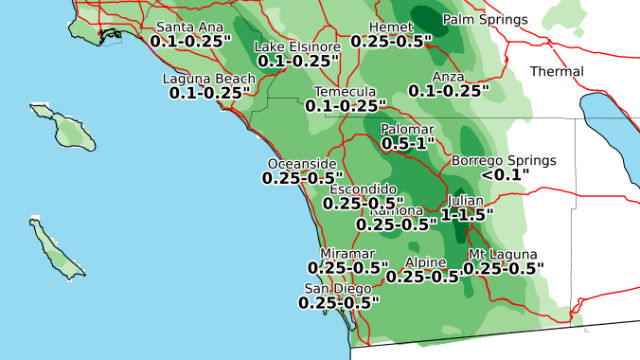 Chart shows forecast rain totals on Sunday