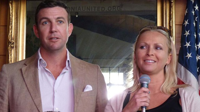 "Rep. Duncan D. Hunter and his wife, Margaret, are seen in La Mesa at 2014 Polonia United event for Polish-Americans in the San Diego region. Margaret is the oldest daughter of Steve and Miroslawa Jankowski, a couple who moved their two daughters to America in the late 1980s, escaping ""the bleak landscape of communist Poland,"" according to Steve Jankowski's 2010 obituary quoted by The Washington Post."