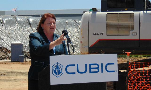 California Senate President Toni Atkins speaks at the groundbreaking