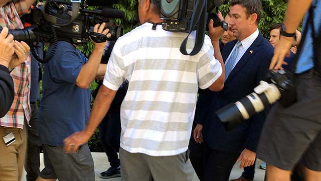 Rep. Duncan D. Hunter leaves downtown federal court a few minutes before 11 a.m. Monday after motions hearing in front of Judge Thomas Whelan.