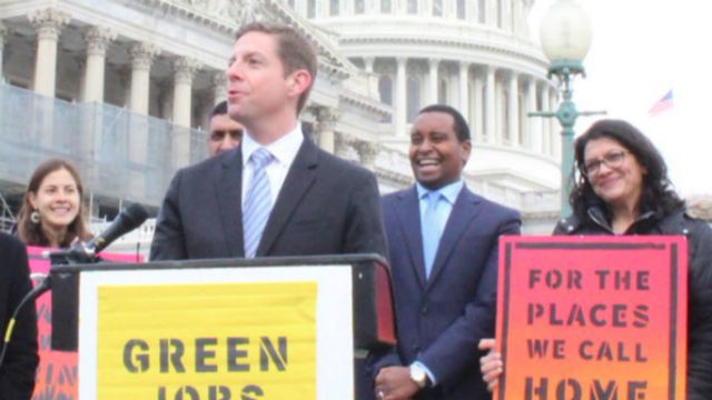 Rep. Mike Levin at a rally for environmental leglslation