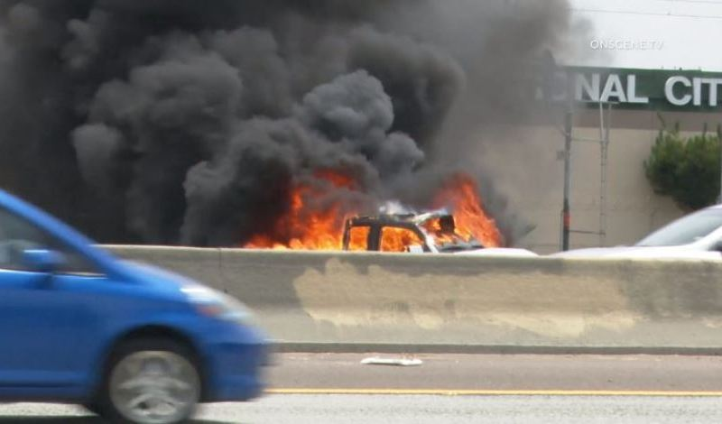 Flames from a burning car in National City