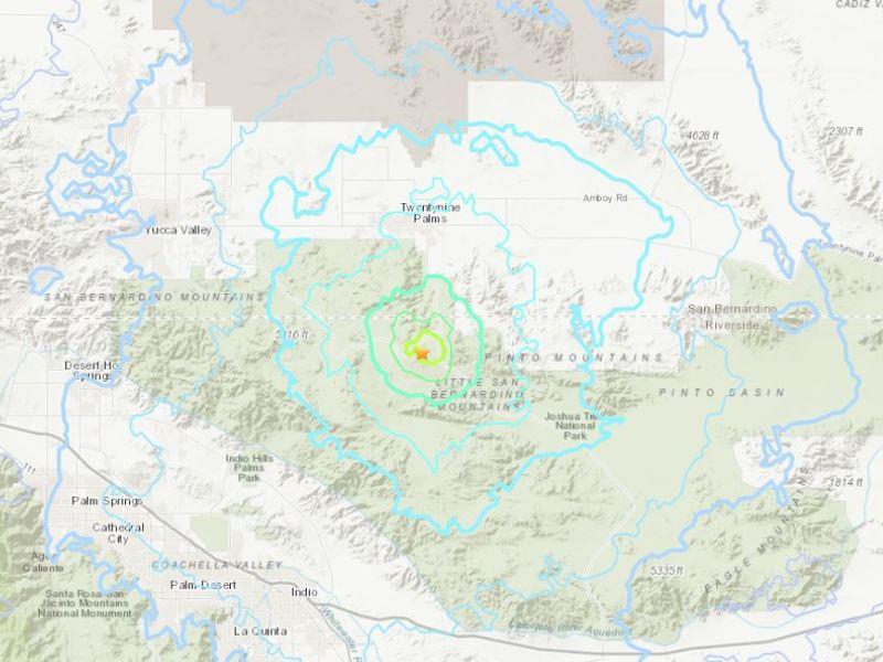 Location of the earthquake in Twentynine Palms