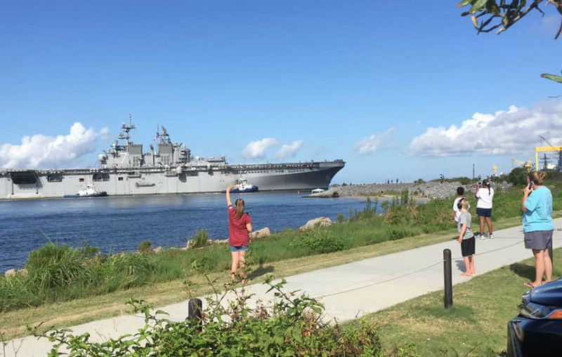 The USS Tripoli returns to the shipyard in Mississippi