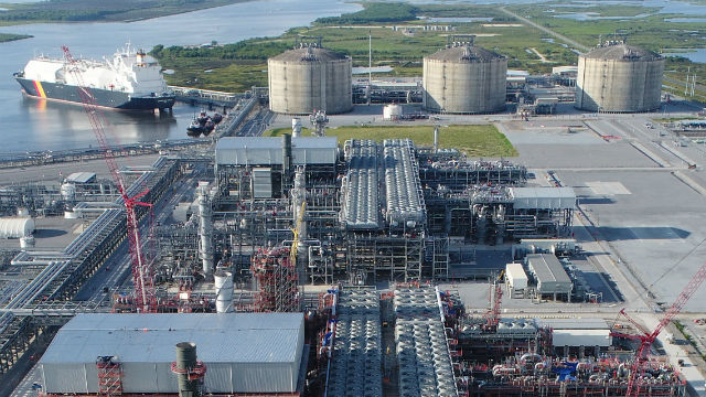 A ship prepares to load liquefied natural gas at the Cameron plant