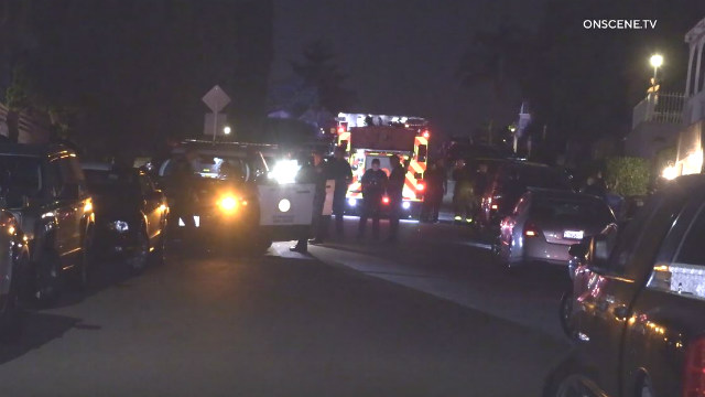Emergency vehicles at the scene of the officer-involved shootinig