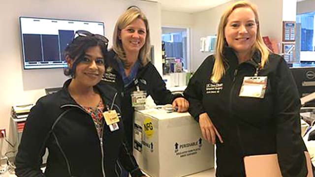 Left to right: Saima Aslam, associate professor of medicine and director of the Solid Organ Transplant Infectious Diseases Service; Dr. Jennifer Berumen, transplant and hepatobiliary surgeon and director of Living Donor Kidney Transplant; and Dr. Kristin Mekeel, chief of transplant surgery.