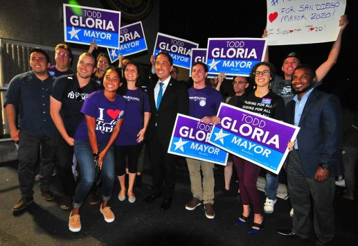 "Assemblyman Todd Gloria poses with supporters dubbed the ""Todd Squad"" after endorsement by county Democratic Party."