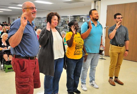 New club and committee officials in the San Diego County Democratic Committee are sworn in.