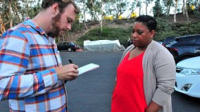 Voice of San Diego's Andy Keatts interviews mayoral candidate Tasha Williamson before endorsement meeting.