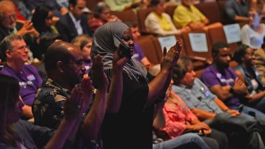 The three candidates had their cheering sections in the 150-member audience at San Diego City College.
