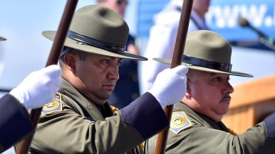 U.S. Border Patrol agents were honor guards at the United Airlines personnel attended the 18th annual 9/11 USS Midway Memorial Service. Photo by Chris Stone