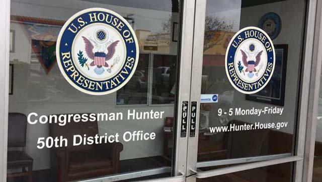 Entrance to Rep. Duncan Hunter office in El Cajon.